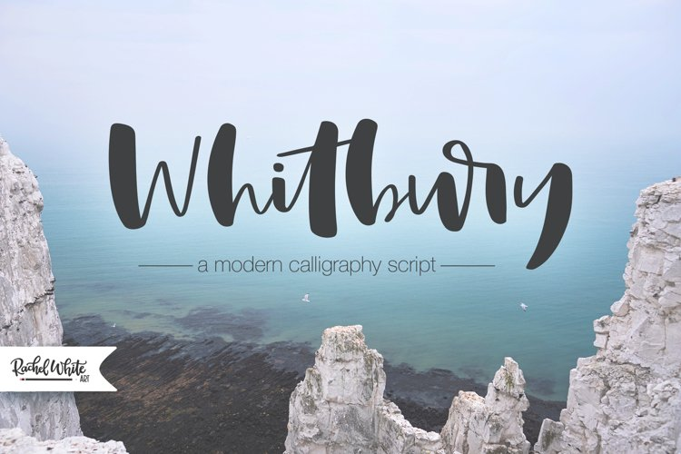 Whitbury, a modern calligraphy script font example image 1