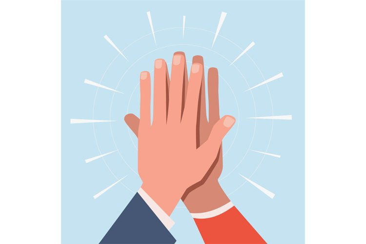High five hands. Two hands giving high five informal greetin example image 1