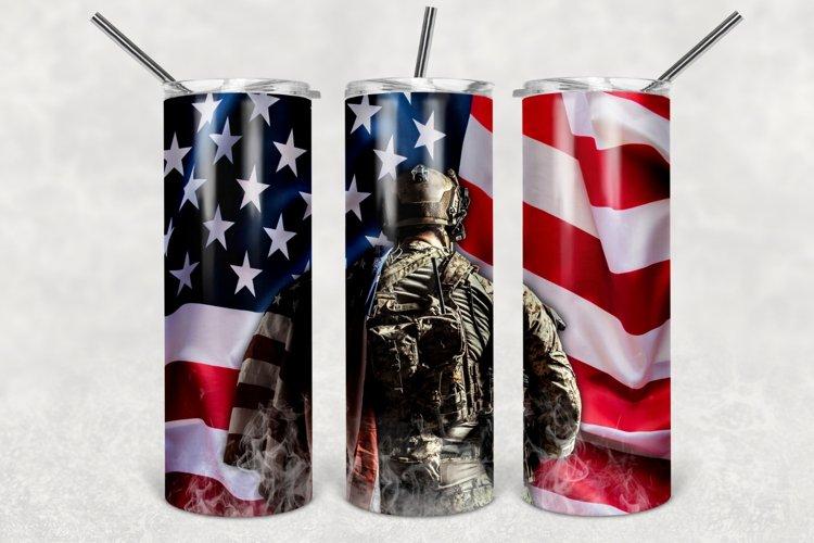 American Soldier Tumbler Sublimation Design, 30oz & 20oz PNG