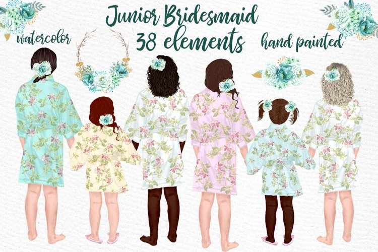 Flower girl clipart,Junior Bridesmaid, Wedding clipart example image 1