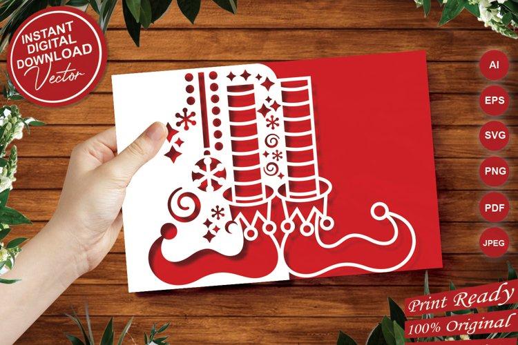Papercut Elf Legs Card Cover, Christmas Invitation Design