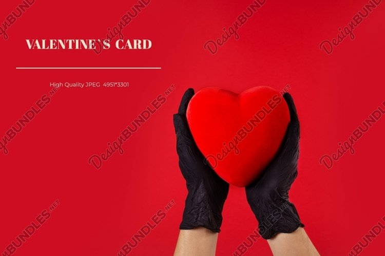 Valentines day card with heart mockup and hands in gloves example image 1