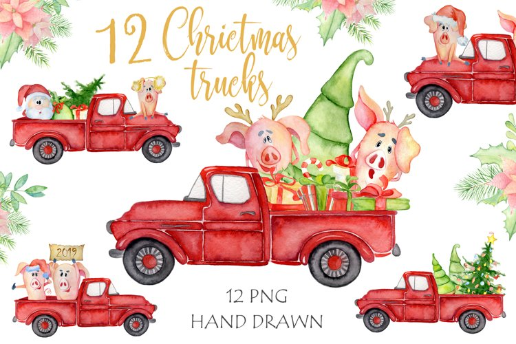 Christmas truck with xmas trees, sants and cute pigs