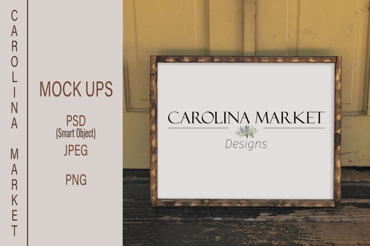 Horizontal Wood Sign Mockup| 16x20 Picture Frame Mockup example image 1
