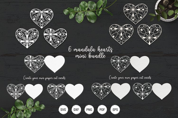 Mandala heart paper cut template | SVG layered hearts bundle example image 1