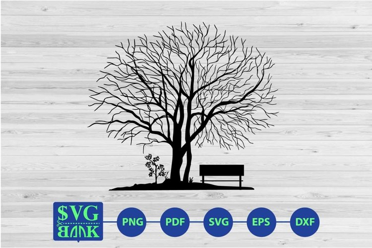 Dry tree and bench svg cut file example image 1