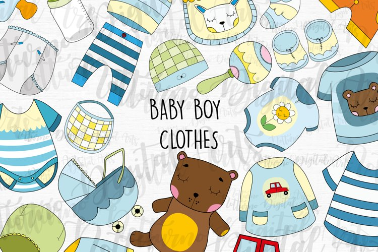 SVG Baby Boy Clothes clipart. Set of 22 svg, png, eps.
