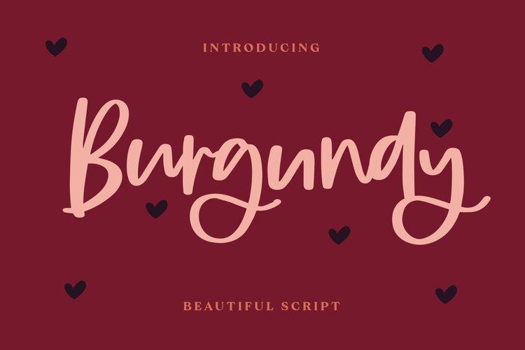 Burgundy - Beautiful Script Font example image 1