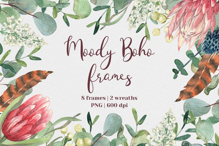 Moody Boho Floral Frames and Wreaths. 10 PNG