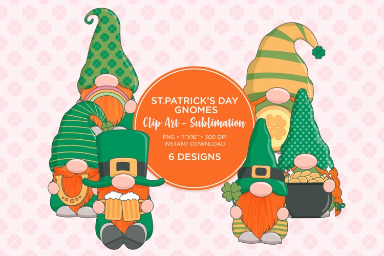 St. Patrick's Day Clip Art Sublimation Design example image 1