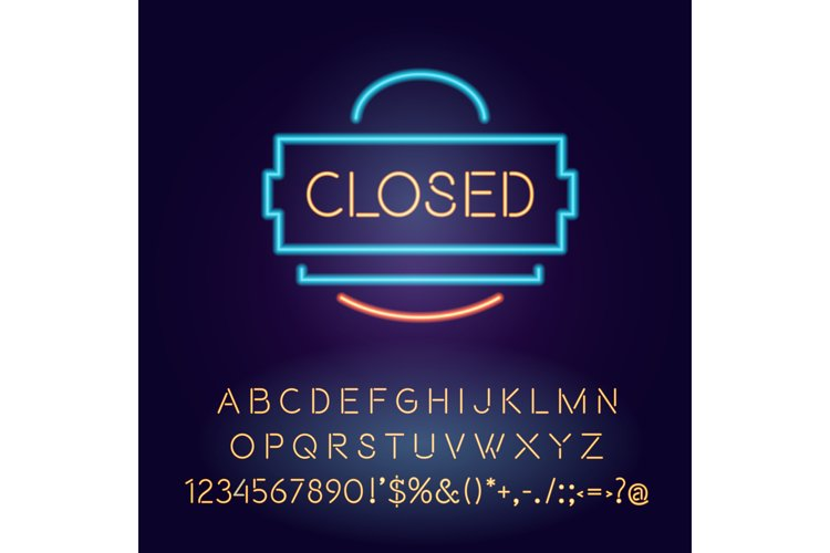Closed vector neon light board sign illustration example image 1