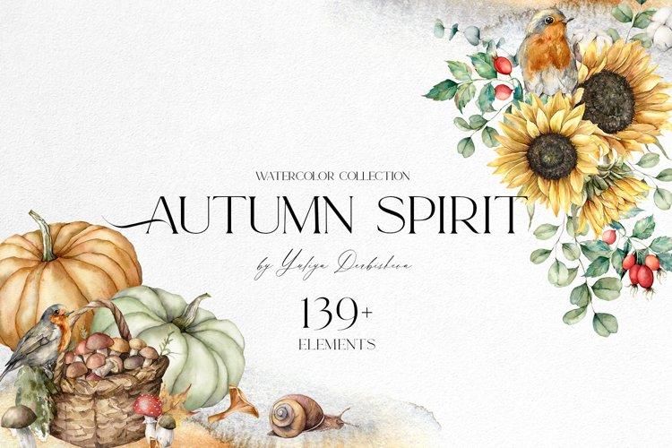 Autumn spirit. Watercolor fall bundle. Pumpkins, sunflowers