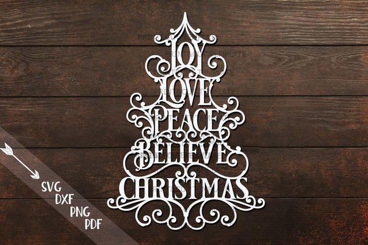 Joy Love Peace Believe Christmas svg dxf pdf cut template example image 1
