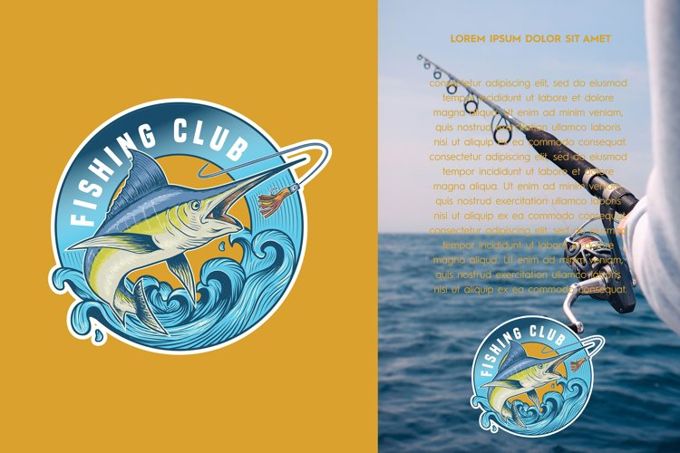 Blue marlin fishing logo illustration example image 1
