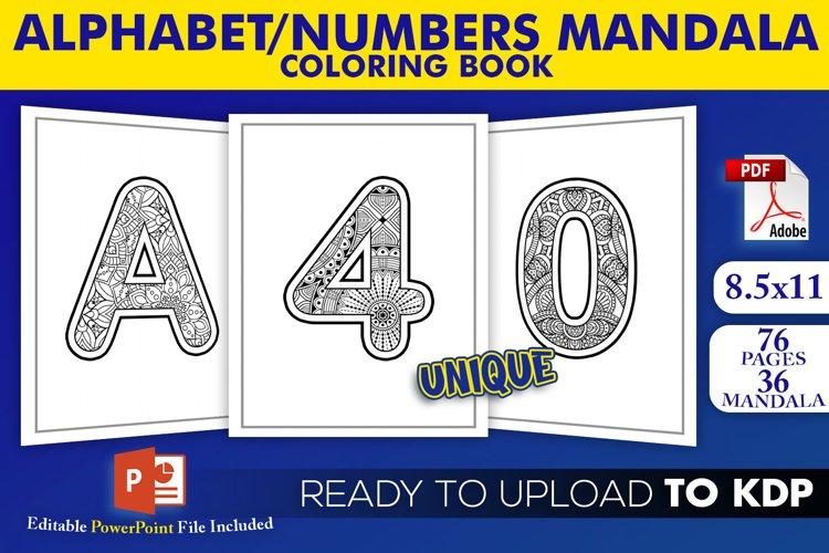 Alphabet & Numbers Mandala Coloring Book | KDP Interior example image 1