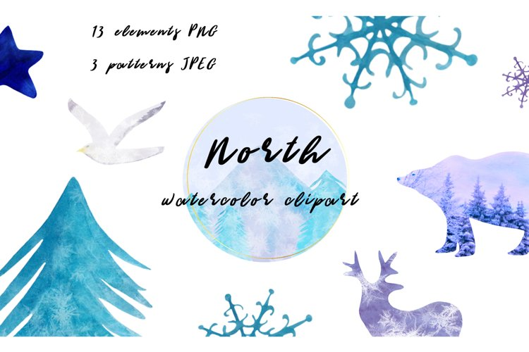 North Watercolor Clipart. Mountains, wild nature, landscape. example image 1