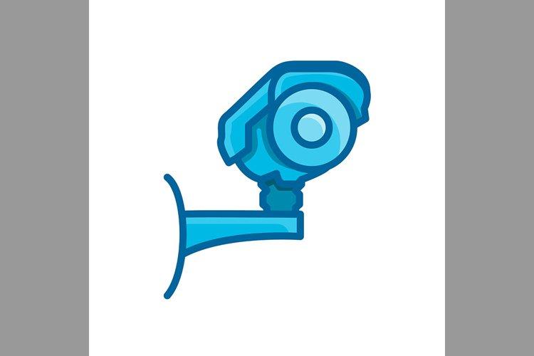 cctv camera security symbol blue color, Vector Illustration example image 1