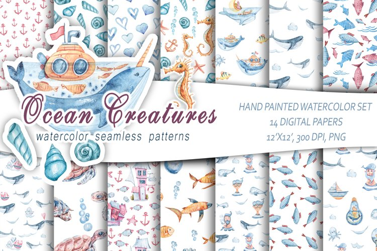 Watercolor nautical seamless patterns. Digital paper