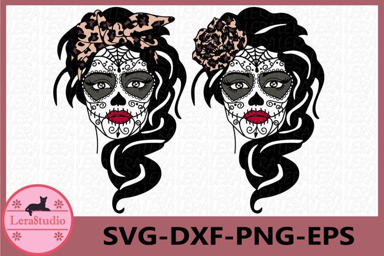 Sugar Skull Svg, Girl skull svg, Skeleton svg, Skull example image 1