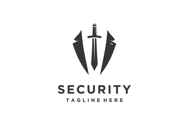 Bodyguard logo design with a sword and tuxedo security example image 1