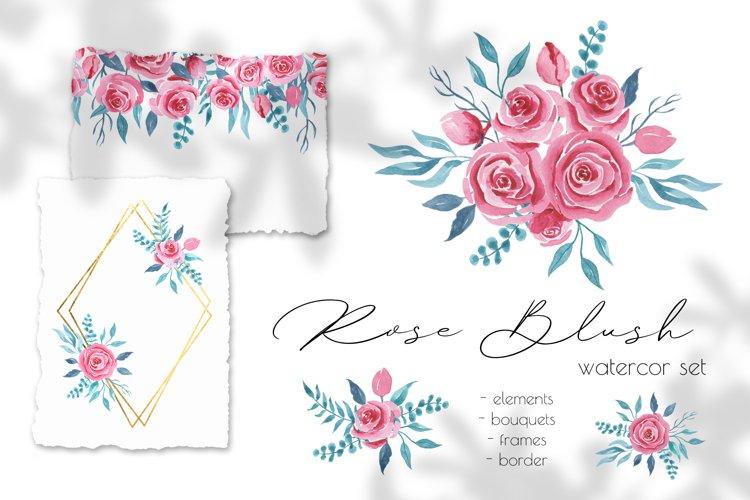 Rose Blush Watercolor Set, Wedding Decor, Flower Clipart
