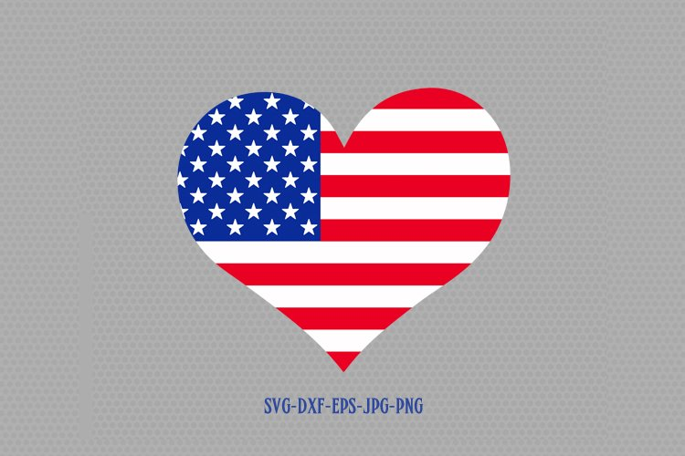 Usa flag heart shape svg, Fourth of July SVG, 4th of July Svg, Patriotic SVG, America Svg, Cricut, Silhouette Cut File, svg dxf eps example image 1