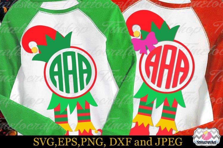 Christmas Elf Hat and Legs, Elf's Boots Frame Monogram example image 1