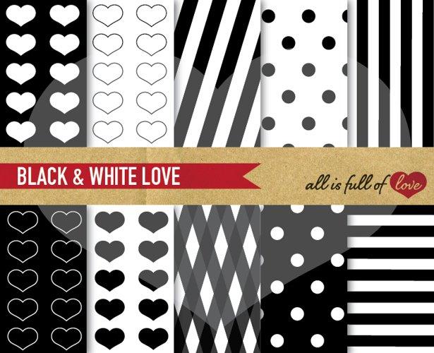 Black Digital Paper Pack Love Background Patterns example image 1