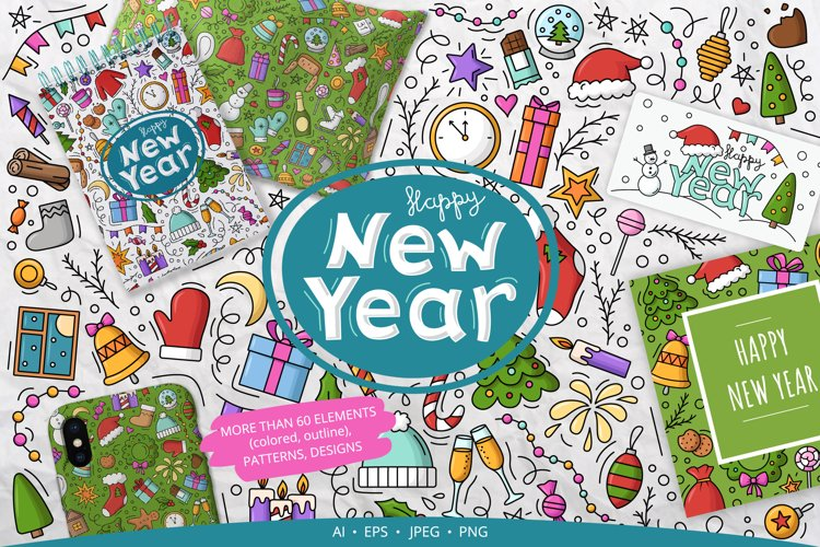 Doodle New Year Big set Vector Clipart example image 1