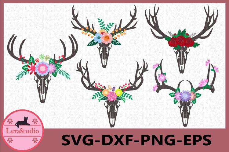 Fall SVG, Deer Antler Skull Svg, Antler Flower svg example image 1