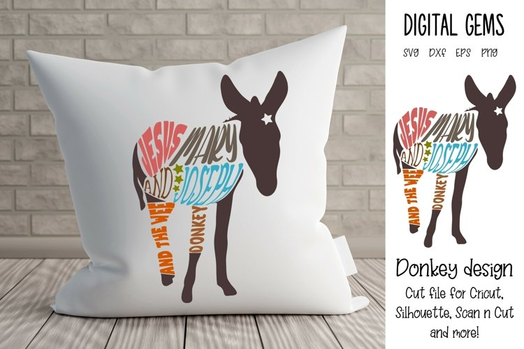Jesus, Mary, and Joseph and the wee donkey design SVG / DXF