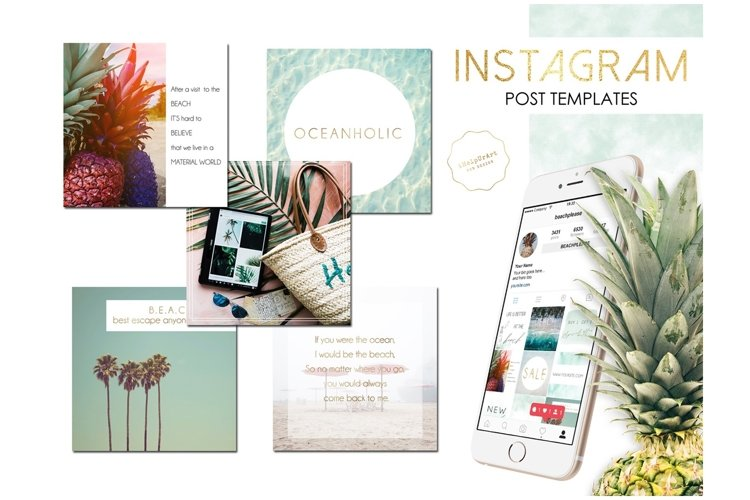 Beach Vibes Instagram Posts Template example image 1