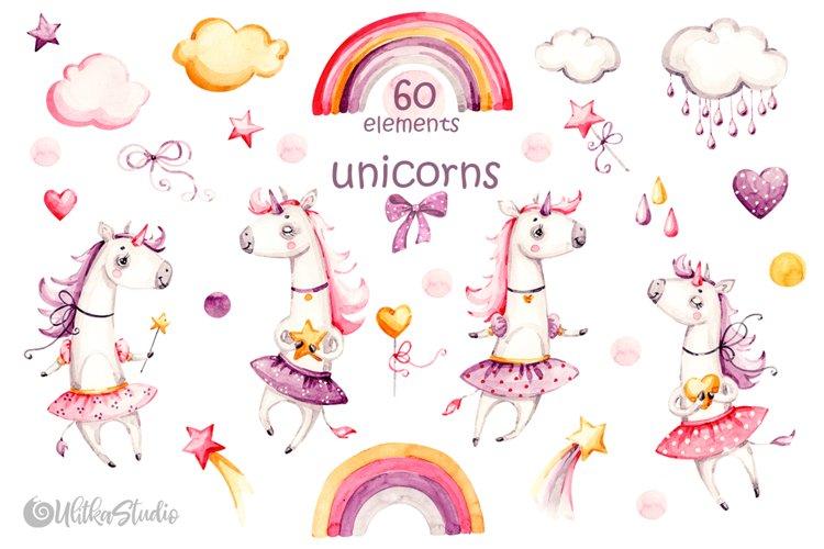 Unicorn watercolor clipart. Cute Baby animals clip art