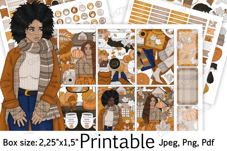 """African American Autumn Vibe Printable Box Size 2,25""""x1,5"""" example image 1"""