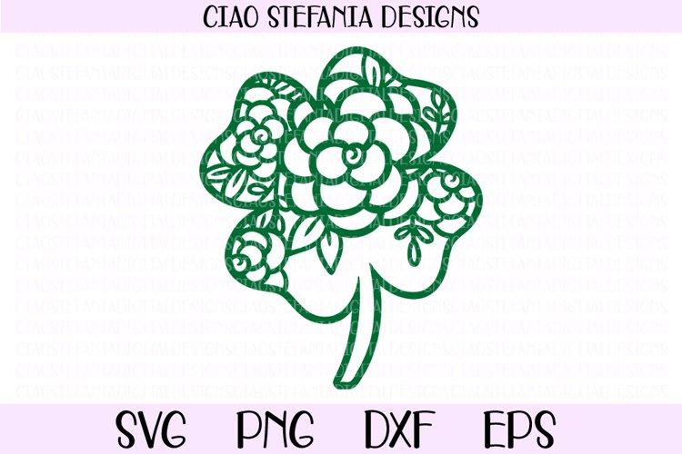 St Patricks Day Floral Four Leaf Clover SVG Cut File example image 1