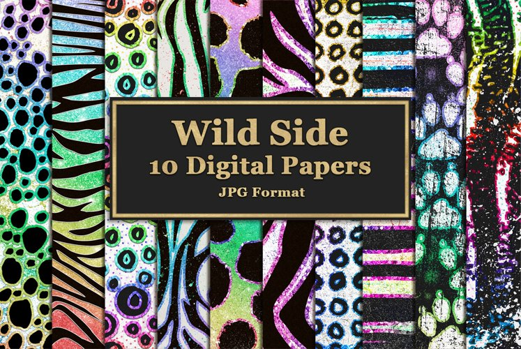 Wild Side Digital Papers with Rainbow Glitter example image 1