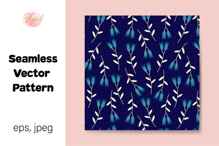 Blue Lily Flowers Digital Paper, Seamless Pattern example image 1
