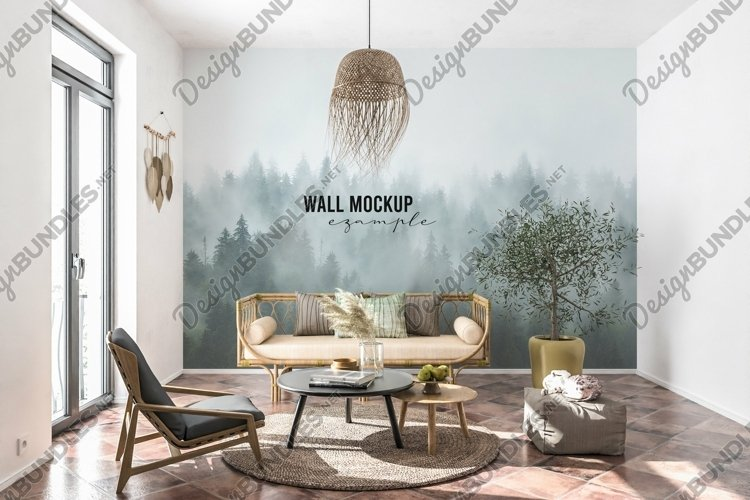 Wall mockup - Wallpaper mockup - Boho living room