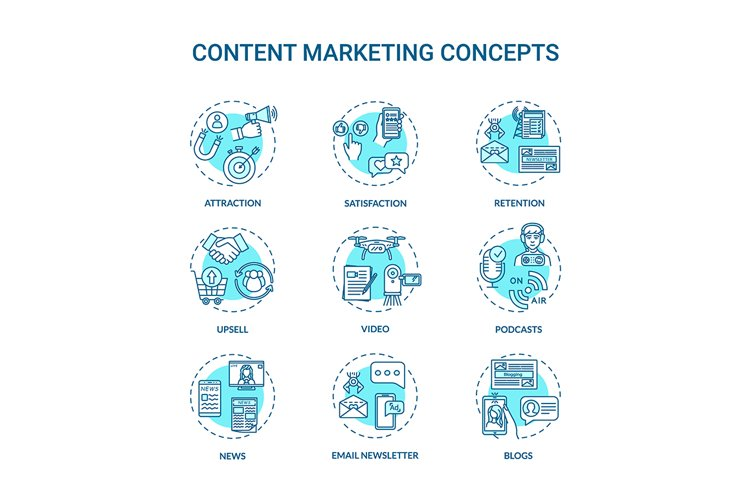 Content marketing concept icons set example image 1
