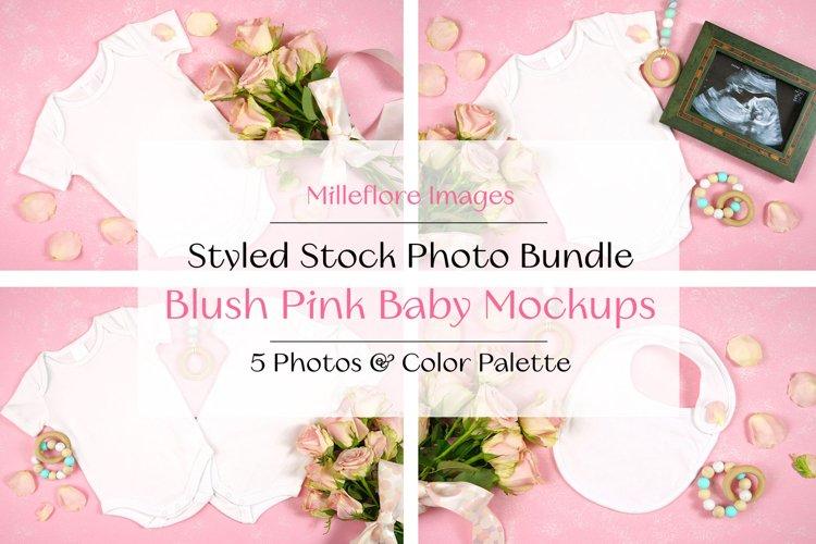 Blush Pink Baby Mothers Day Mockup Styled Stock Photo Bundle