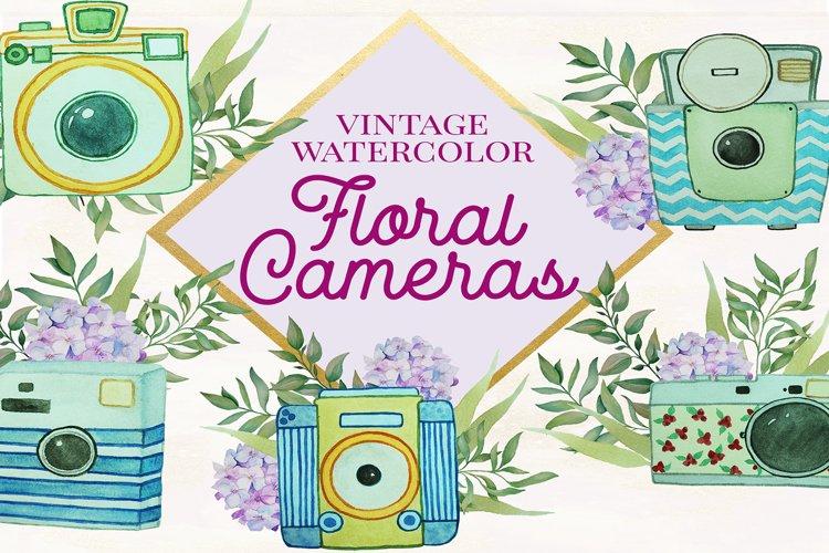 Floral Watercolor Vintage Cameras example image 1