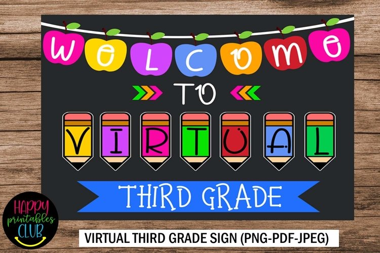 Welcome to Virtual Third Grade Sign- First Day Third Grade example image 1