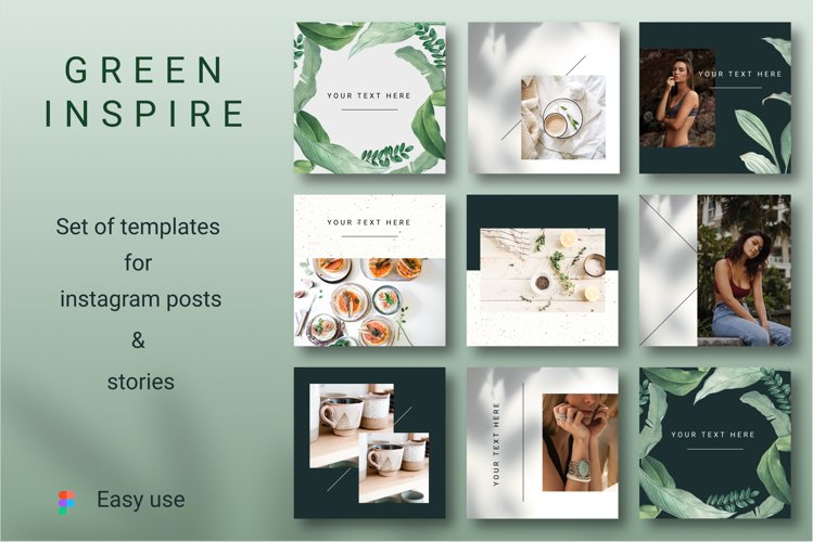 GREEN INSPIRE Instagram Templates example image 1