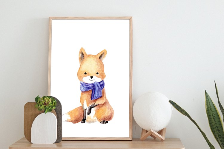 FOX CLIPART Fox in a scarf, digital watercolor pictures.