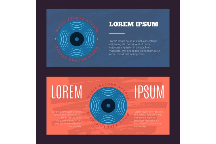 Vector vintage flyers with sound record studio, vinyl music example image 1