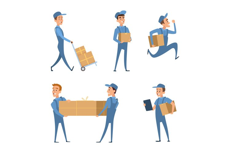 Workers of delivery. Set of characters example image 1