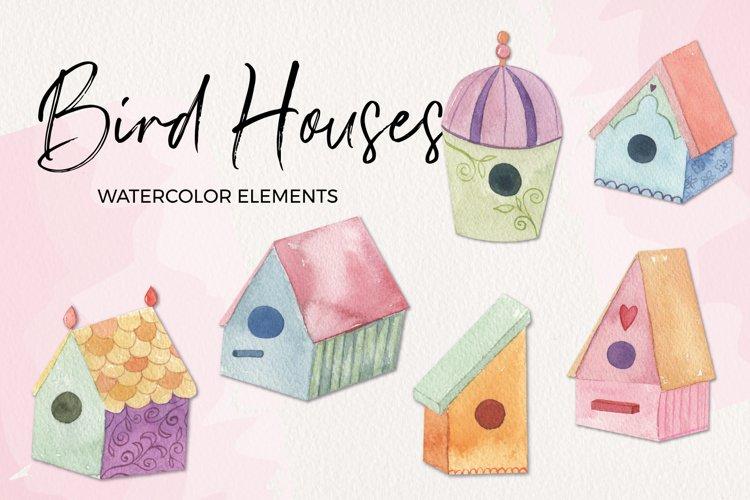 Birdhouse Sprint Clipart Watercolor Elements Pretty