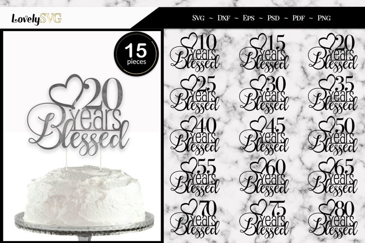 Anniversary Milestone Cake Toppers, SVG Cut Files