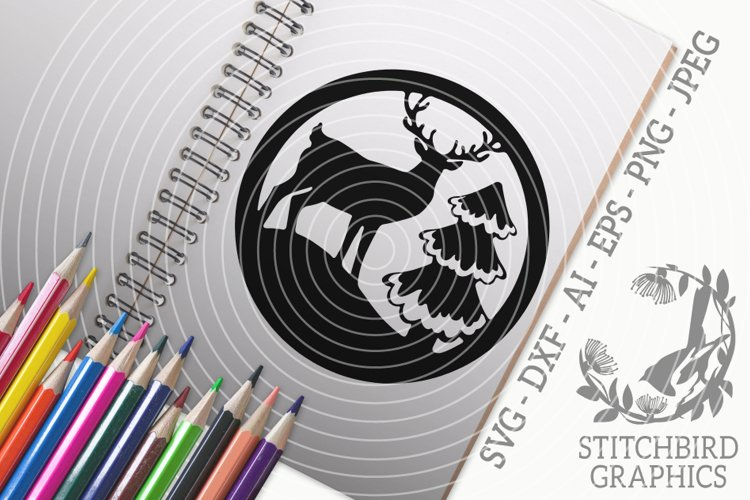 Stag by Tree SVG, Silhouette Studio, Cricut, Eps, Dxf, Jpeg example image 1