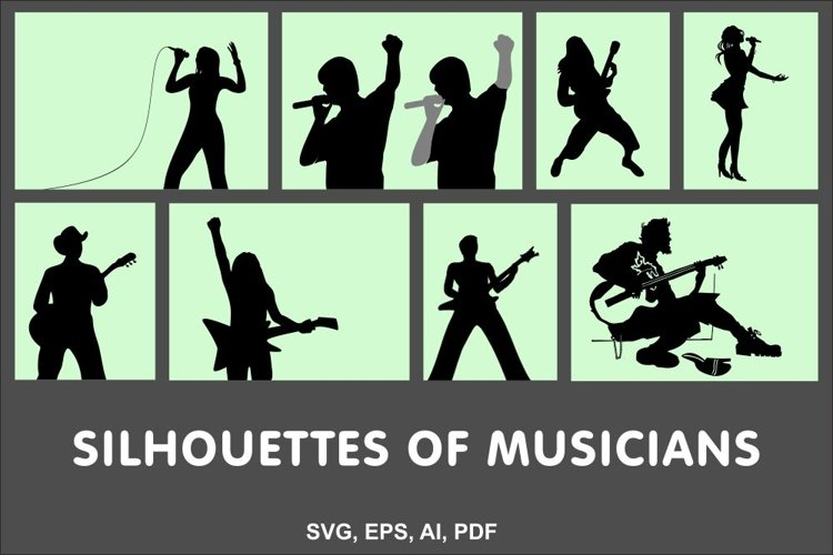 Set of vector silhouettes of musicians example image 1